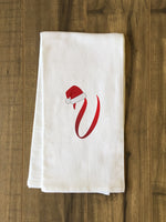 Monogram Santa Hat V  - Red Kitchen Towel by OBC