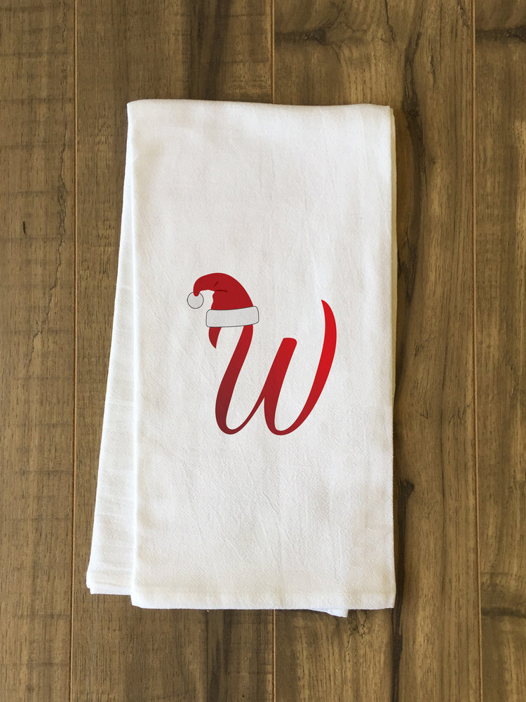 Monogram Santa Hat W  - Red Kitchen Towel by OBC