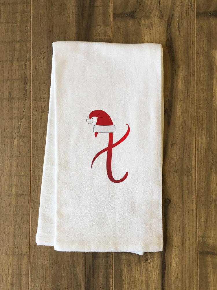 Monogram Santa Hat X  - Red Kitchen Towel by OBC