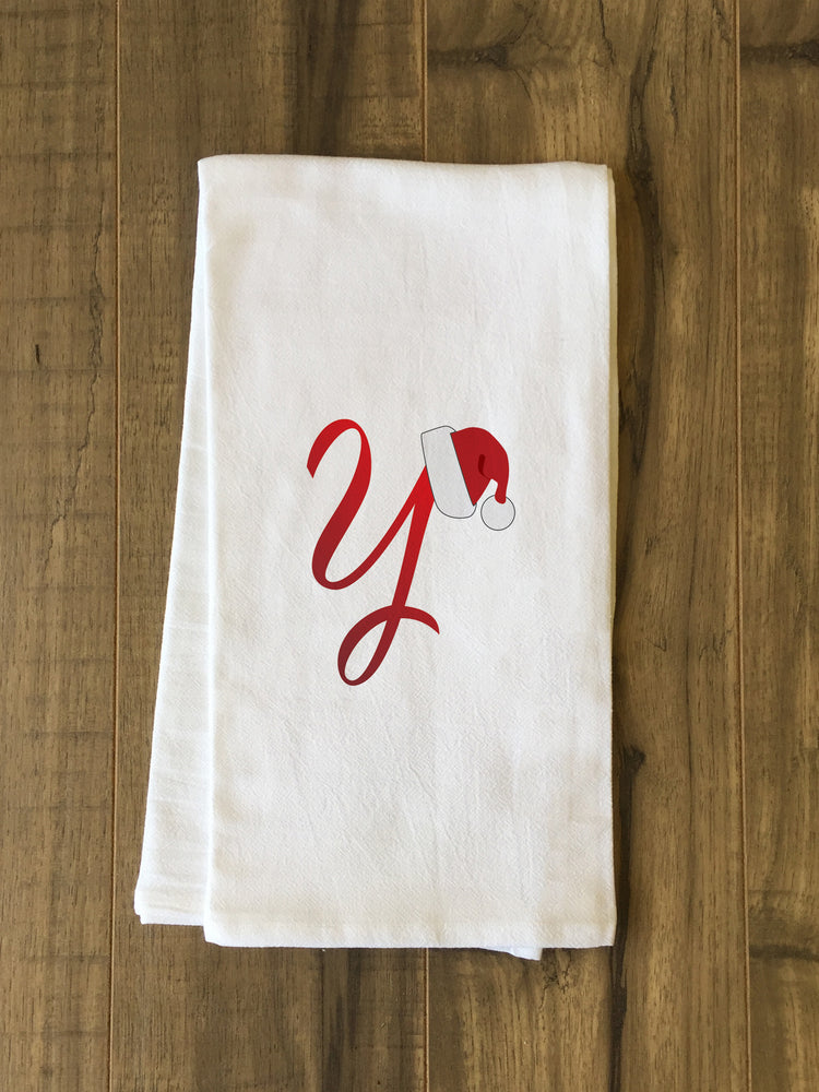 Monogram Santa Hat Y  - Red Kitchen Towel by OBC