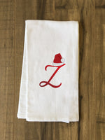 Monogram Santa Hat Z  - Red Kitchen Towel by OBC