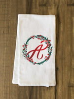 Monogram Script Holly A  - Multi Kitchen Towel by OBC