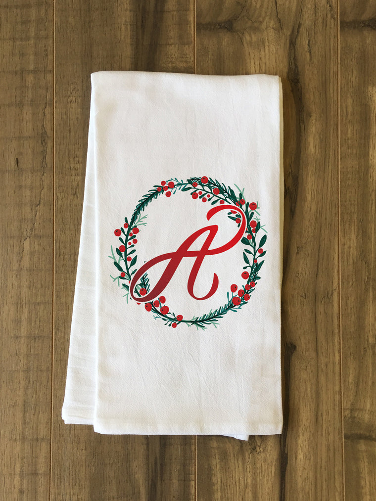 Monogram Wreath Kitchen Towel by OBC