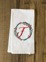 Monogram Script Holly F  - Multi Kitchen Towel by OBC