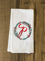 Monogram Script Holly P  - Multi Kitchen Towel by OBC