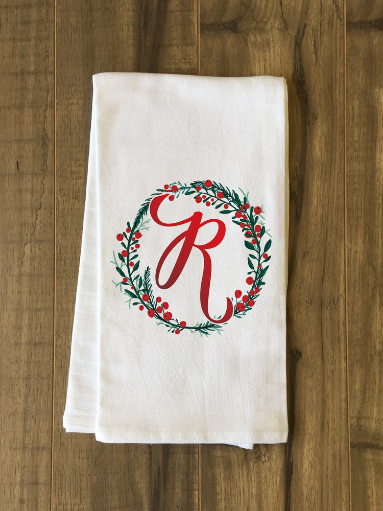 Monogram Script Holly R  - Multi Kitchen Towel by OBC
