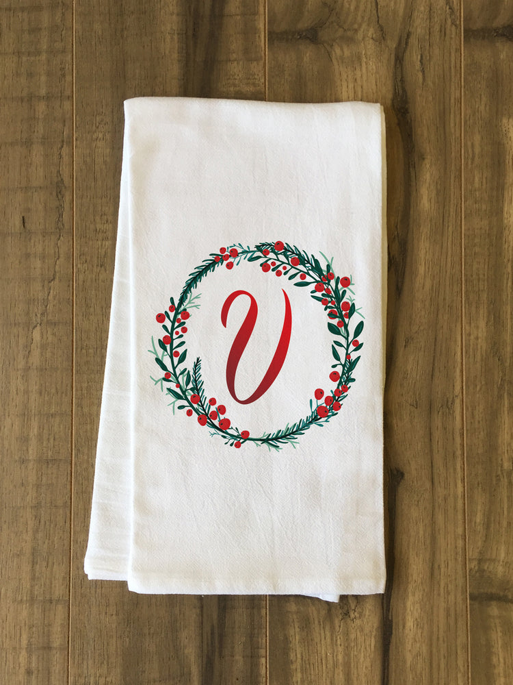 Monogram Script Holly V  - Multi Kitchen Towel by OBC