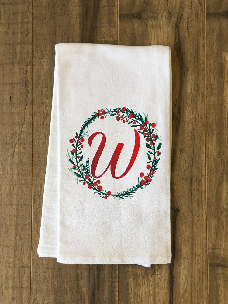 Monogram Script Holly W  - Multi Kitchen Towel by OBC