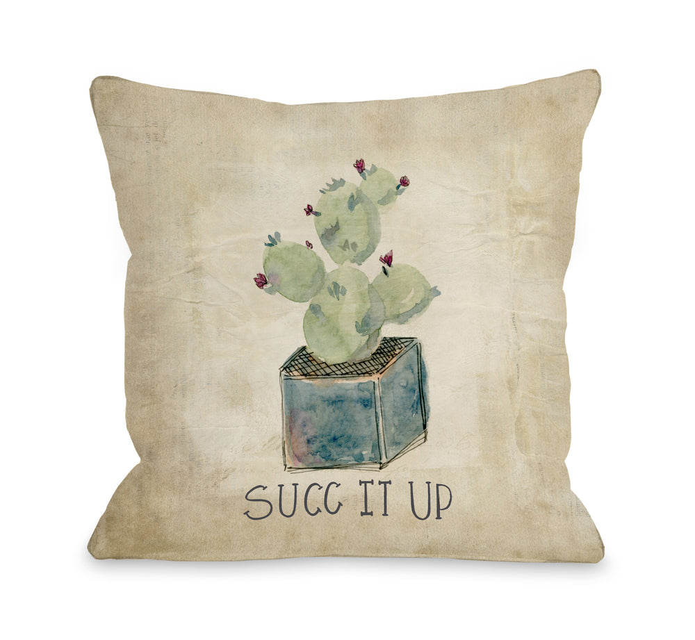 Cactus Succ It Up - Throw Pillow by Nancy Anderson