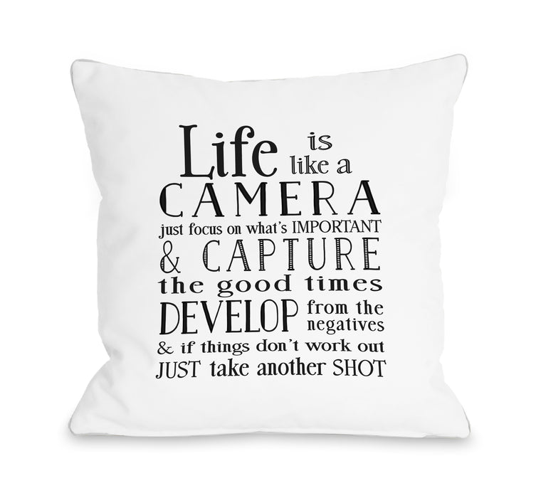 Life Is Like A Camera - Throw Pillow by Nancy Anderson