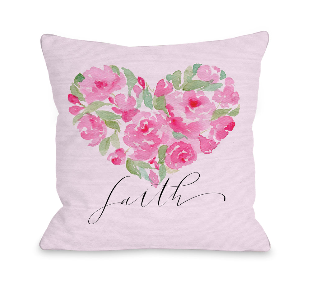 Rose Heart Faith - Throw Pillow by Nancy Anderson