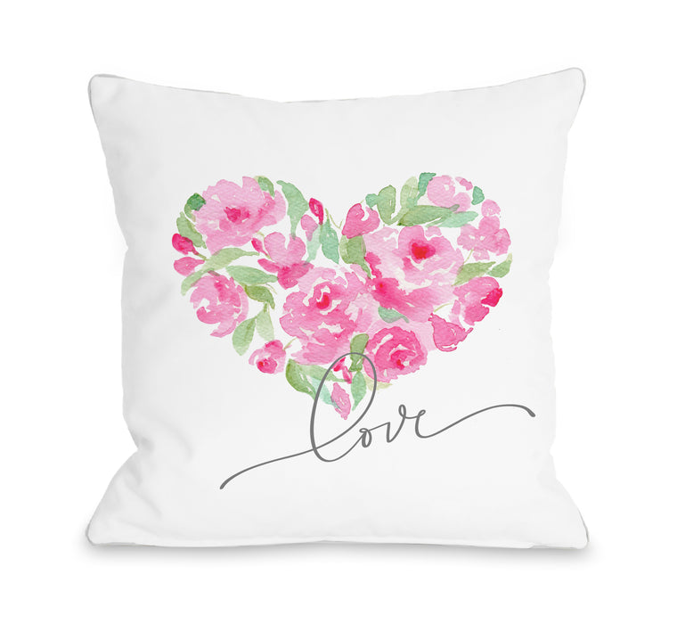 Rose Heart Love - Throw Pillow by Nancy Anderson