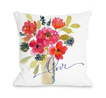 Rose Vase Love - Throw Pillow by Nancy Anderson