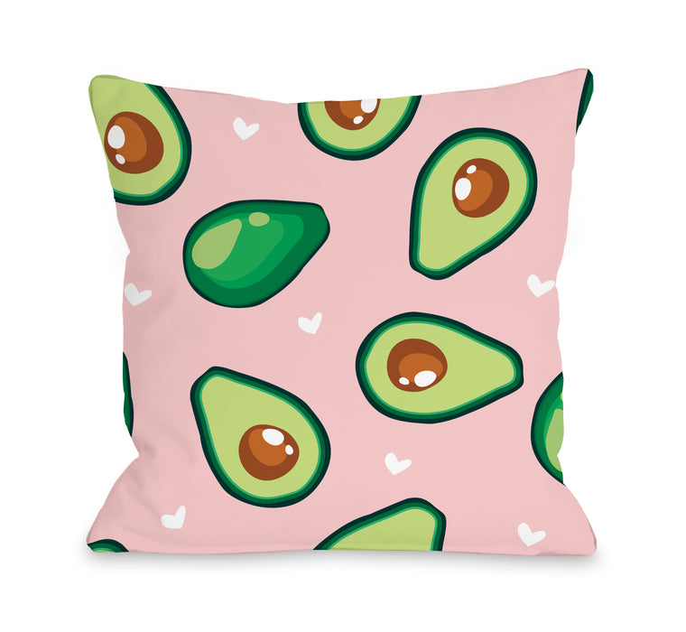Avocado Hearts - Throw Pillow by OBC