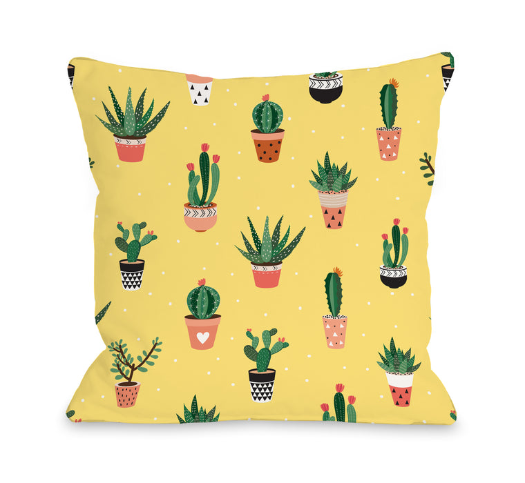 Cacti Garden - Throw Pillow by OBC