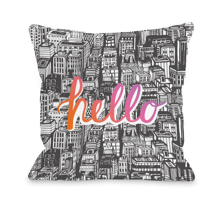 Hello City - Throw Pillow by OBC