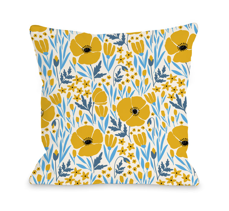 Poppies - Throw Pillow by OBC