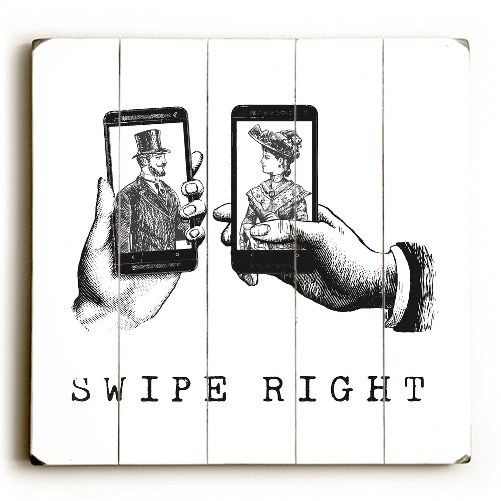 Swipe Right Wood Wall Decor by OBC