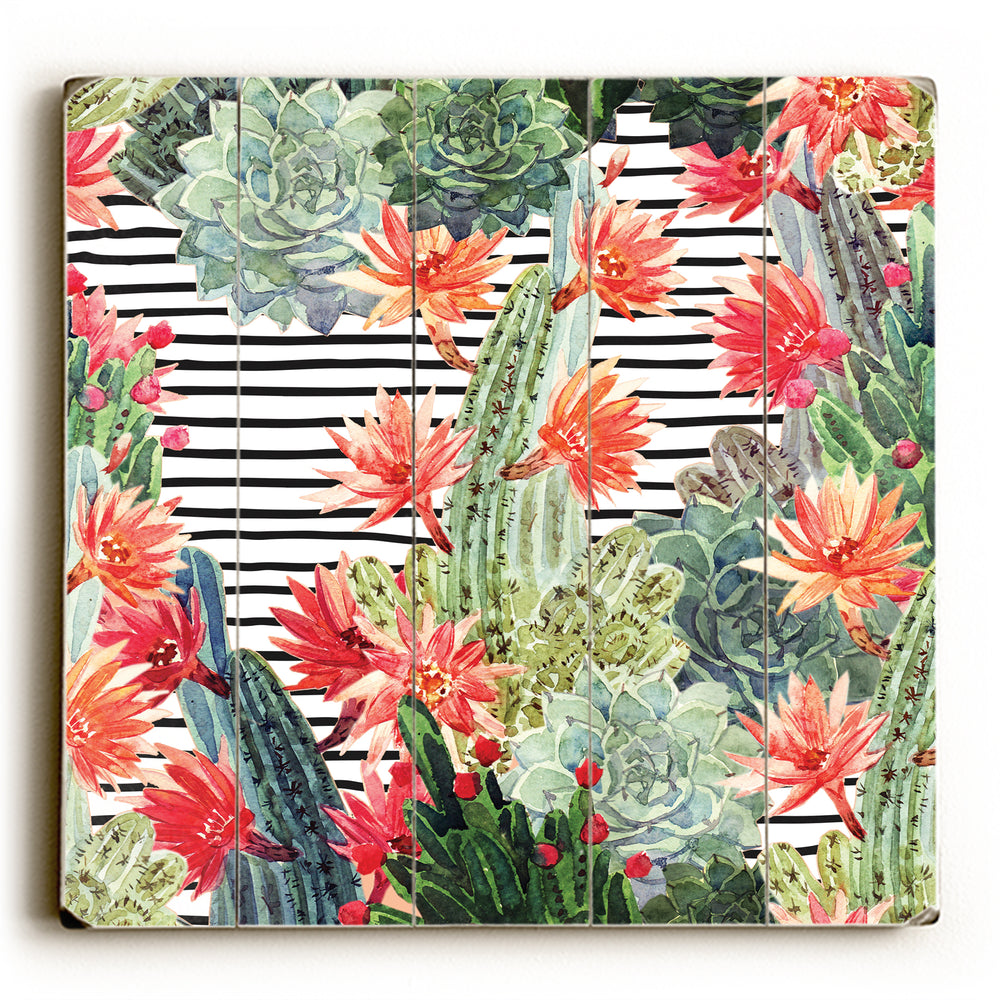 Brynn Cacti Stripe Wood Wall Decor by OBC