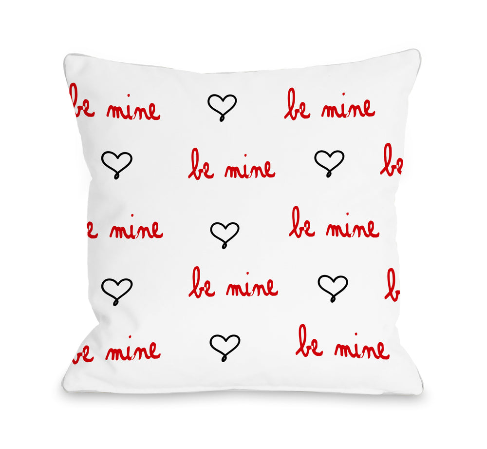 Be Mine Heart - Red 18x18 Pillow by OBC