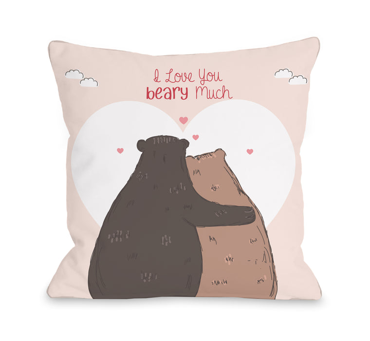 Beary Much - Pink 18x18 Pillow by OBC