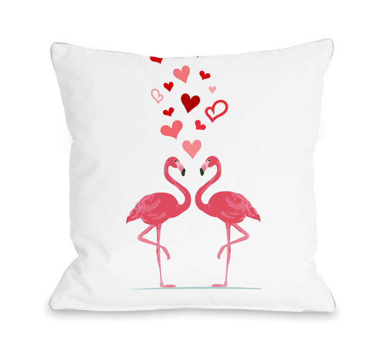 Flamningo Love - Pink 18x18 Pillow by OBC
