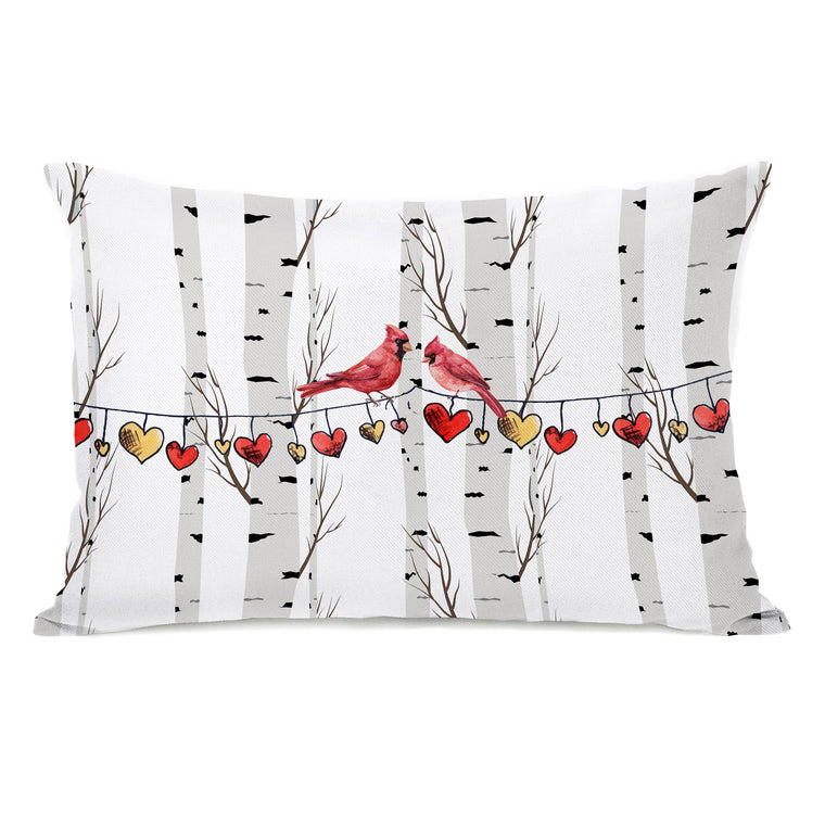 Cardinal Hearts on a String - Red 14x20 Pillow by OBC