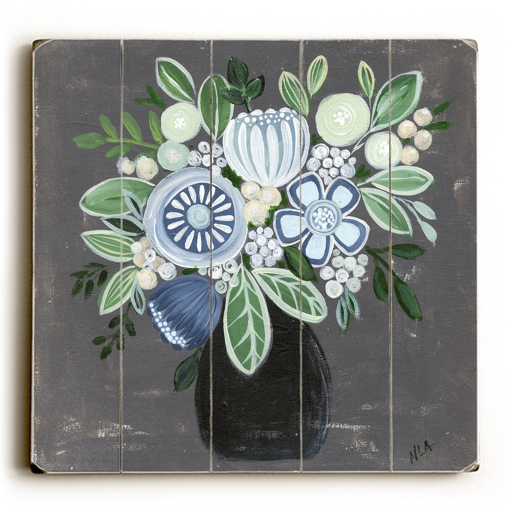 Blue Flower Arrangement Wood Wall Decor by Nancy Anderson