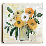 Golden Flower Arrangement Wood Wall Decor by Nancy Anderson