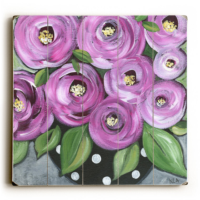 Magenta Roses Wood Wall Decor by Nancy Anderson