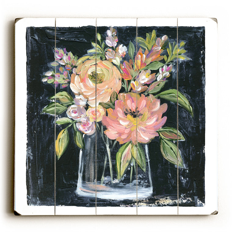 Peach Floral BouquetWood Wall Decor by Nancy Anderson