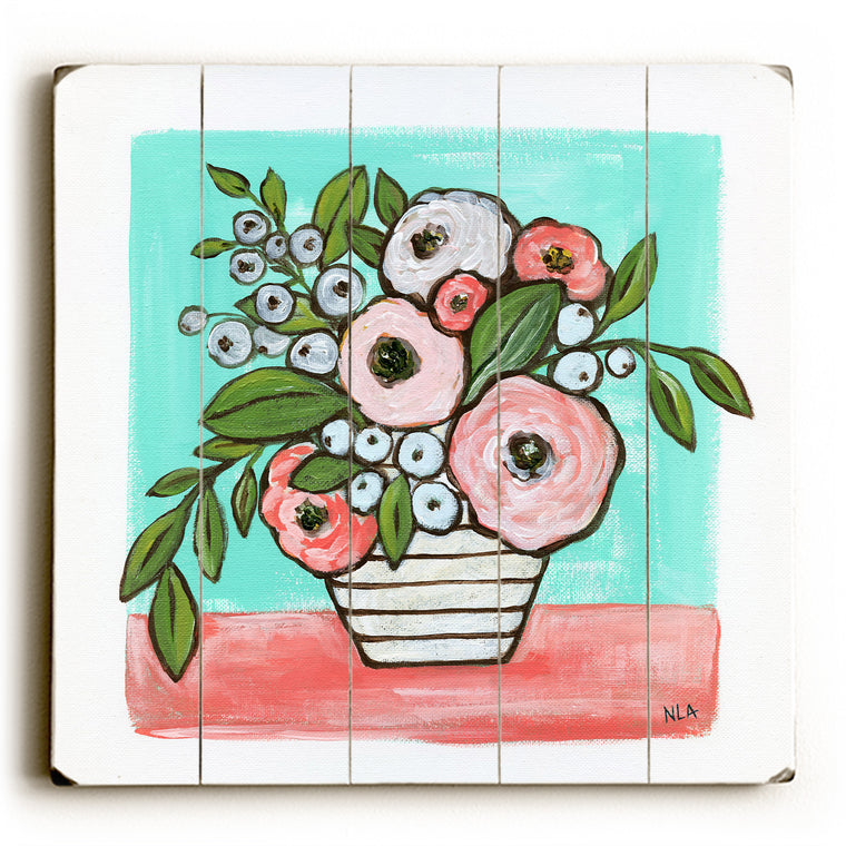Striped Vase Floral Arrangement Wood Wall Decor by Nancy Anderson