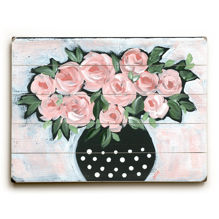Roses in Polka Dot Vase Wood Wall Decor by Nancy Anderson