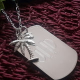 Very Nice Palm Tree Pendant with ID Tag