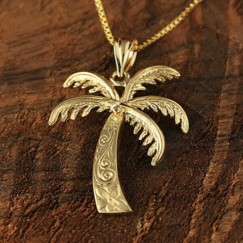 14k Yellow Gold Large Palm Tree Pendant.