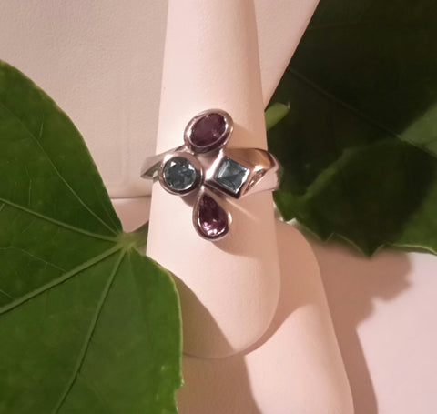 Amethyst & Blue Topaz bezel set ring.