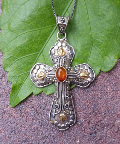 Sterling Silver 2 - tone Cross with Basic Amber and 14k accents