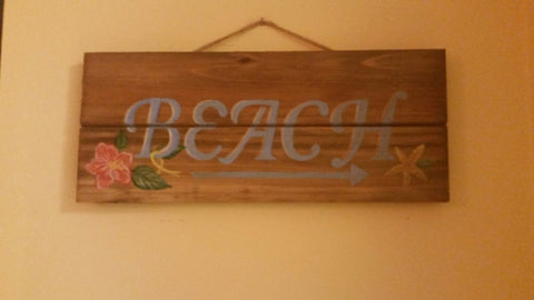 Handpainted Beach Sign