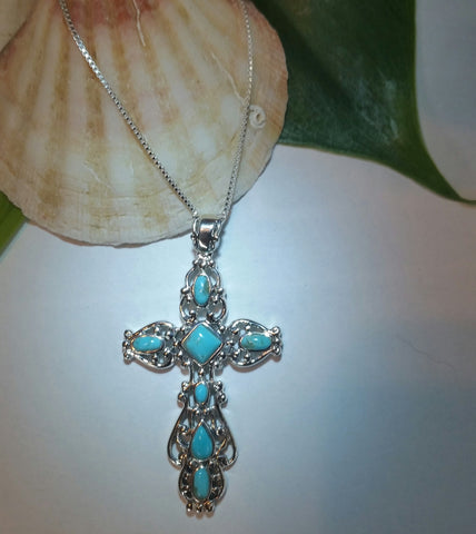 Large Turquoise Filagree  Cross