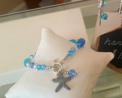 Sea Glass and Starfish Toggle Bracelet