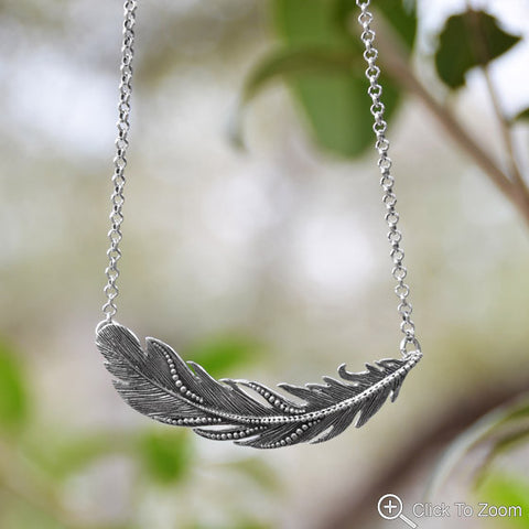 Feather beaded necklace.
