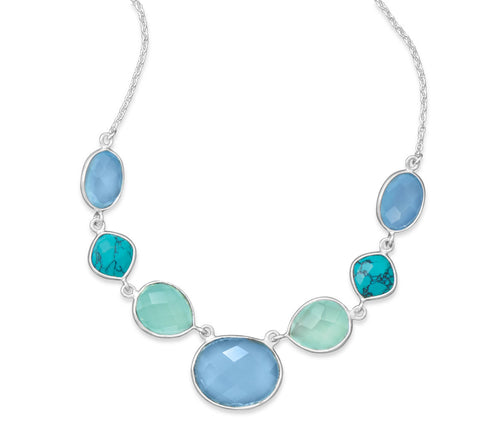 A Turquoise & Chalcedony Necklace.