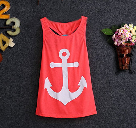 Little Girls Anchor Bow Knot Tank Top