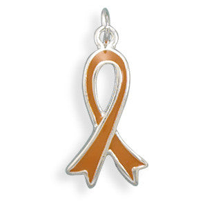 Amber  / Orange Awareness Ribbon Charm