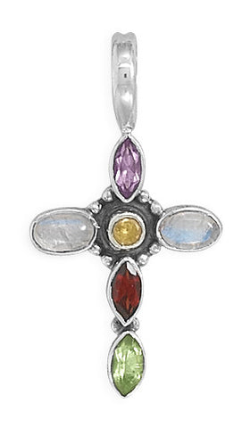 Small Sterling Silver  multi  stone cross