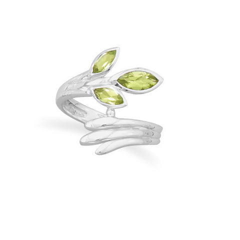 Marquise Peridot Wrap Ring Fan Design