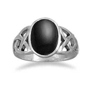 Silver Lattice Onyx Ring