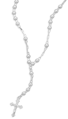 Sterling Silver Rosary Necklace 16""