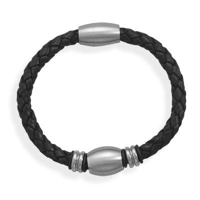 Men's Leather & Stainless Steel Magnetic Clasp Bracelet