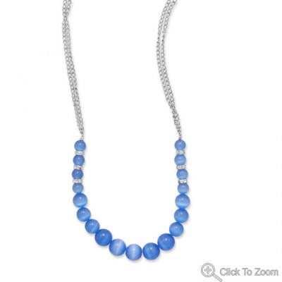Graduated Blue Beaded Necklace